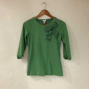 Green half long sleeve Shirt with bow